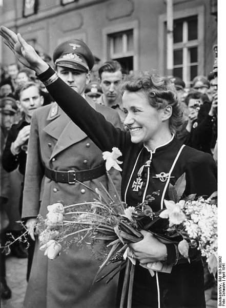 Hanna Reitsch after being awarded the EKII