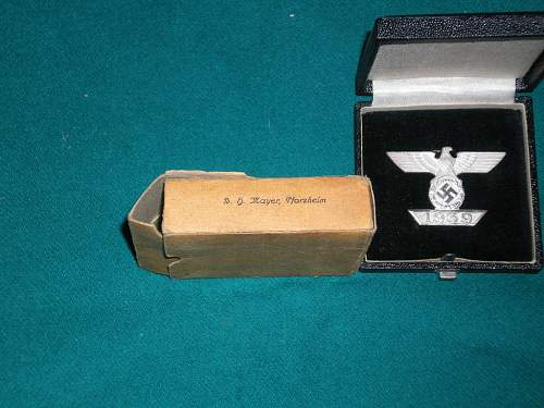 German Spange EK 1 Iron Cross + Case + BOX! MAYER Horzheim maker?