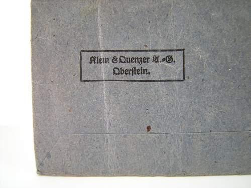 Eisernes Kreuz 1. L/11 Wilhelm Deumer and K&Q Ek2 packet