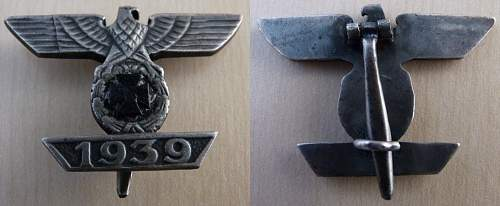 1939 Spange zum Eisernen Kreuzes 1er Klasse 1914 good or bad