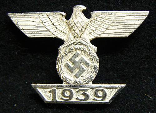 1939 Spange zum Eisernen Kreuzes 1er Klasse 1914, B.H. Mayer, No Veins.