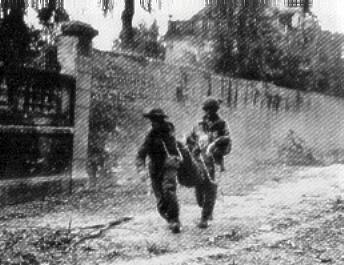 Falaise Then & Now. The Canadian attack on the Ecole Sainte Jean de Filles.