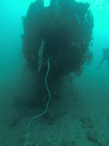 Japanese Patrol boat wreck and naval gun mounted caves on Gilli T , Indonesia