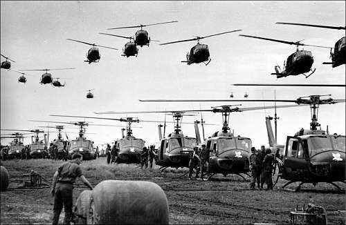 1966  U.S. Army helicopters providing support for U.S. ground troops fly into a staging area fif.jpg