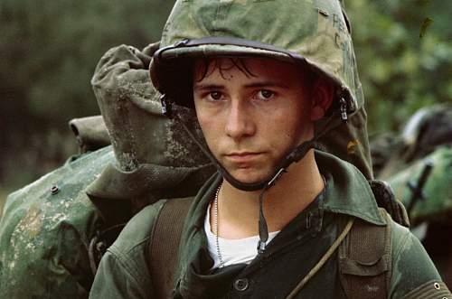 A young Marine private waits on the beach during the Marine landing, Da Nang, Vietnam, August 3,.jpg