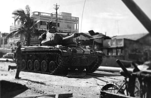 An M41 tank of the South Vietnamese Army advances on enemy positions in Saigon, Vietnam in May o.jpg