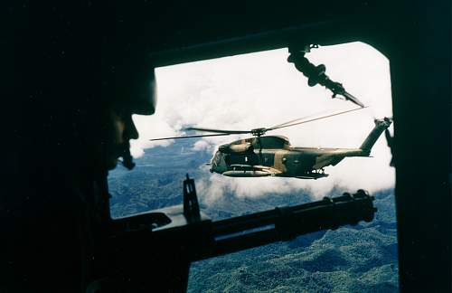 HH-53 helicopter of the 40th Aerospace Rescue and Recovery Squadron as seen from the gunner's po.jpg