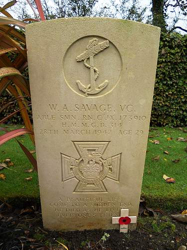 Able Seaman William Alfred Savage VC, Falmouth Cemetery Cornwall