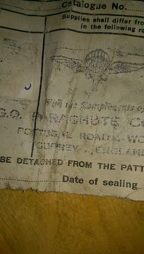 GQ parachute trial bag ,chute ..no idea ..dated 1944 ???
