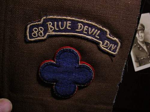 """My Dads 88th """"Blue Devil"""" patches."""