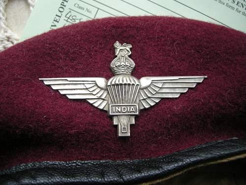WWII Indian Para. Beret and cap badge