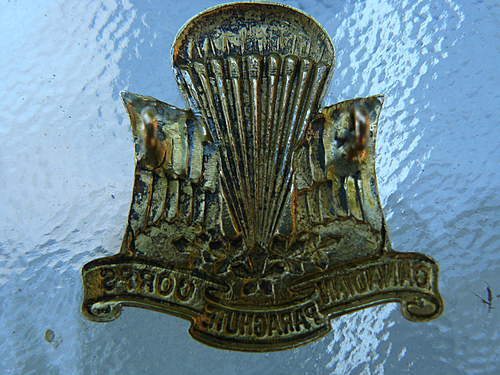 Canadian Para Corps officers cap badge on Ebay
