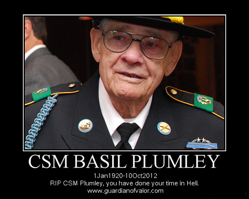 Command Sergeant Major Basil Plumley--passed away at 4am this morning. Known as the Sarge from: We Were Soldiers.