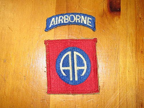 82nd Airborne patch with attached blue tab