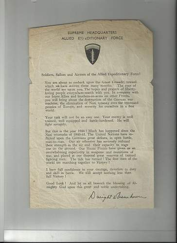 Ike D-Day letter question