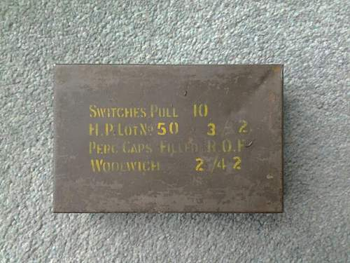 WW2 fuse tin switches pull 10, dated 10/42 SOE ?