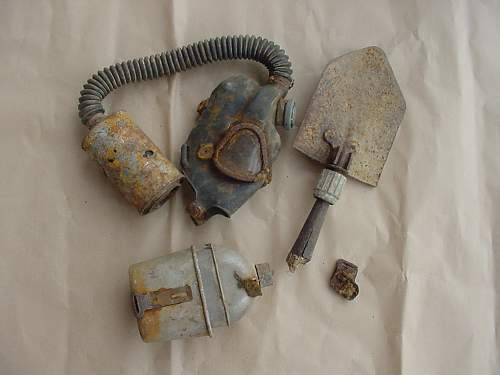 Nijmegen Drop gas mask and canteen relic