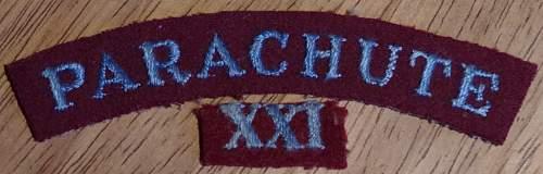 Parachute XXI patches?