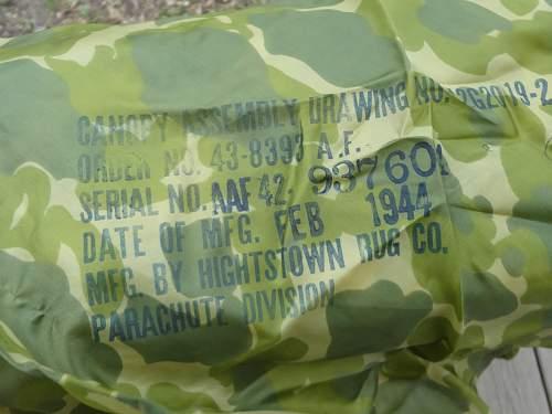 US 1944  Dated Camo Parachute Piece