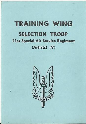 21st SAS (Artists) Selection Troop Advice Card