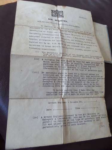 Prewar RAF Parachute packing licence