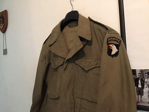 Airborne patch (type 3) and m1943 field jacket.. What do you think?