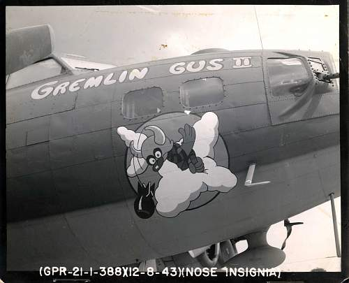 Click image for larger version.  Name:Gremlin Gus the Second B-17G 8-12-1943.jpg Views:1212 Size:151.4 KB ID:244944