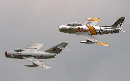 Click image for larger version.  Name:MiG-15 and F-86.jpg Views:5802 Size:15.2 KB ID:416677