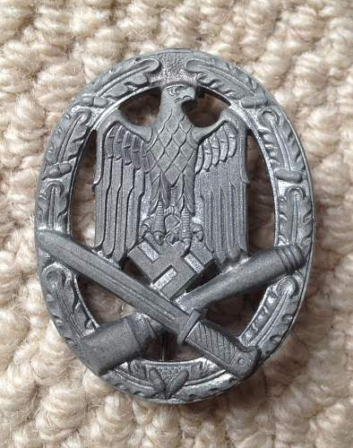 My new Allgemeines Sturmabzeichen  - is it real and who made it (unmarked)?