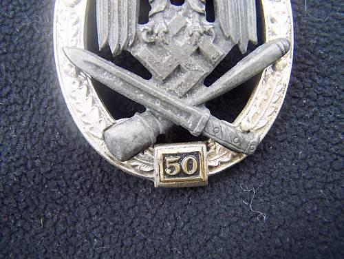"""Allgemeines Sturmabzeichen """"50""""."""