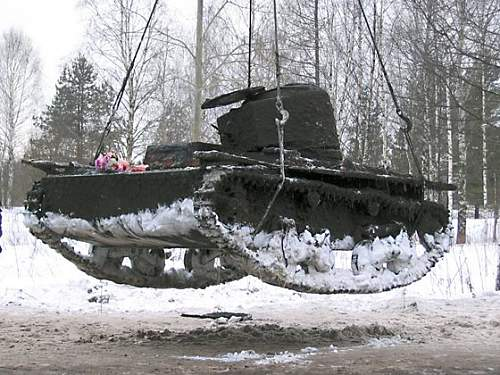 Another T-38 Soviet light tank recovered