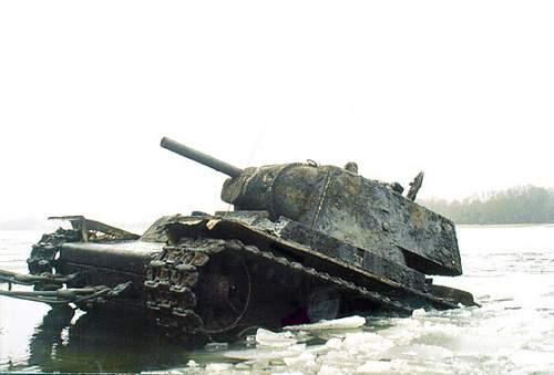 Soviet Heavy KV-1 tank from Neva river