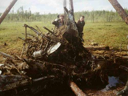 Hurricane wreck with pilot recovery. Northern Russia