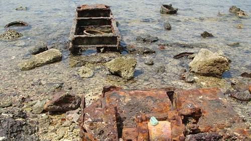 WWII relics dive. Tanks, Jeeps, Trucks.