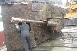 SU-76 selfpropelled gun found in Donau river, Austria this week