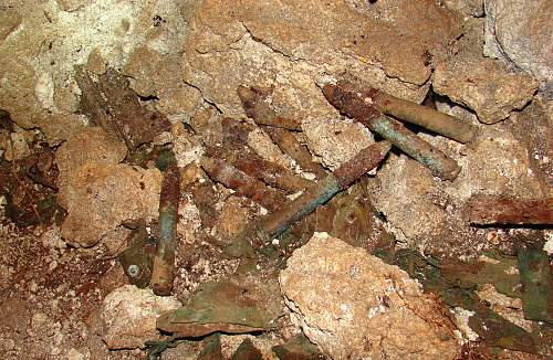Click image for larger version.  Name:7 - Japanese 20 mm ammunition in cave, DSC01151.jpg Views:13 Size:247.0 KB ID:527539