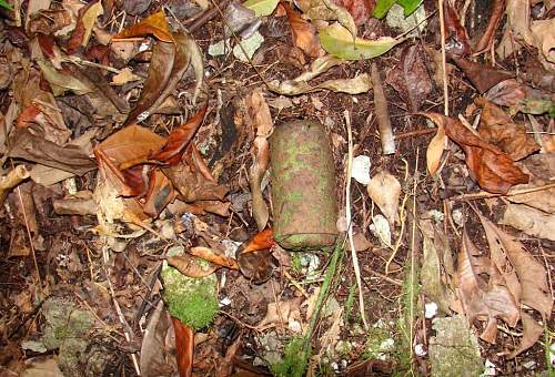 Click image for larger version.  Name:13 - Knee Mortar round and US 30 caliber rifle round found on Walt's Ridge.JPG Views:4 Size:212.7 KB ID:527586