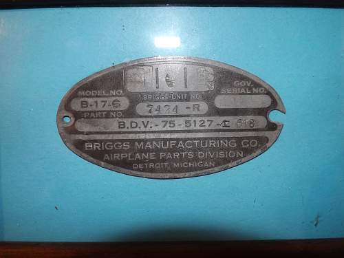 B17g plate from crash site
