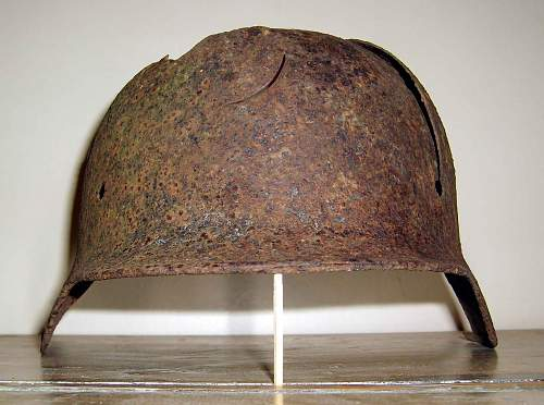 German Helmet in English hedge.