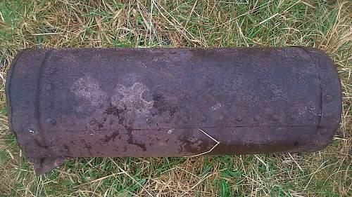 Heavy blue metal object in old Airfield