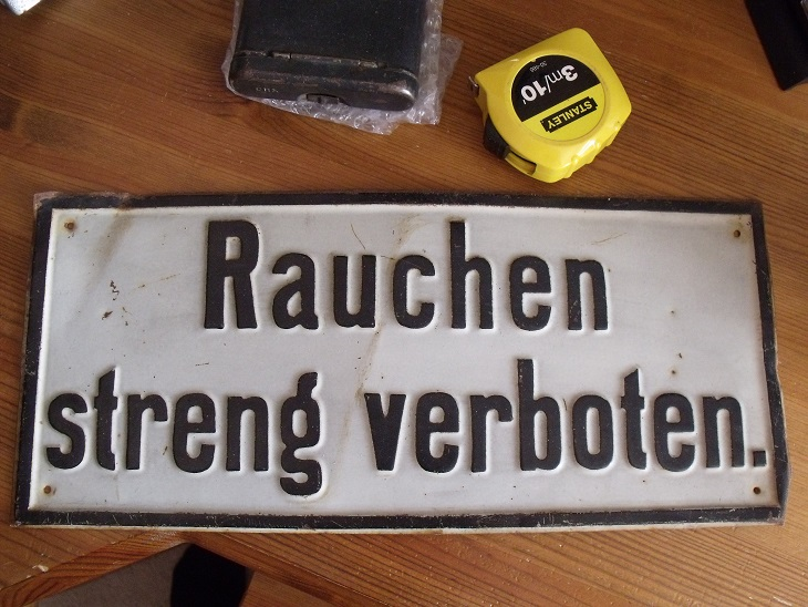 rauchen verboten pressed steel sign age and where used ww2. Black Bedroom Furniture Sets. Home Design Ideas