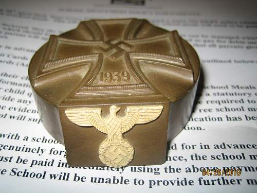 Third Reich Officers Iron Cross Paperweight