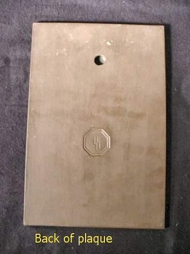 """Allach Plaque """" SS Das Schwarze Korps"""""""