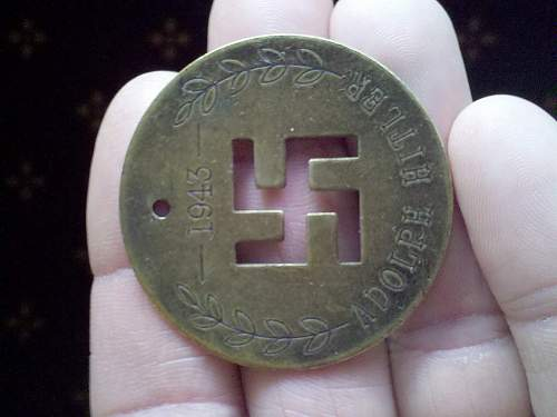 adolph hitler 1943 brass tag identificaion