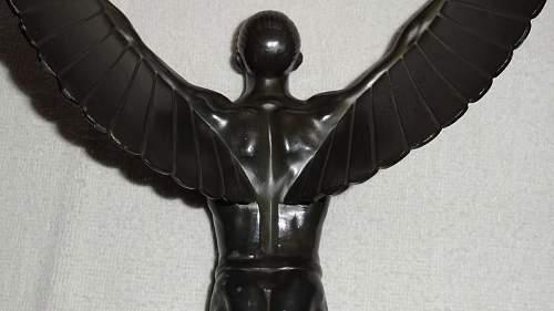 NSFK Winged Man Statue - bronze? / metal