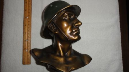 Bust of German Soldier w/ Helmet - metal
