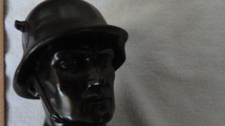 Bust of German Soldier w/ Helmet + Base