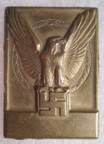 Need Help Identifying This Stamped Brass Table Medal w/Eagle and Swastika
