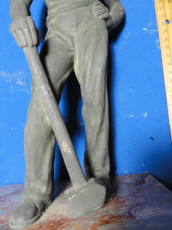 "Man with Hammer Statue - metal/bronze(?) - 13"" tall"