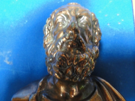 """Bearded Man Statue - metal/bronze(?) - inscribed with """"OMHPOE"""""""